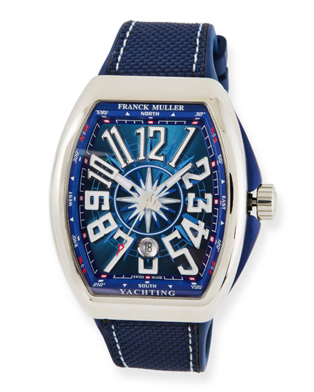 Franck Muller Vanguard Yachting Watch with Blue Carbon Fiber Strap