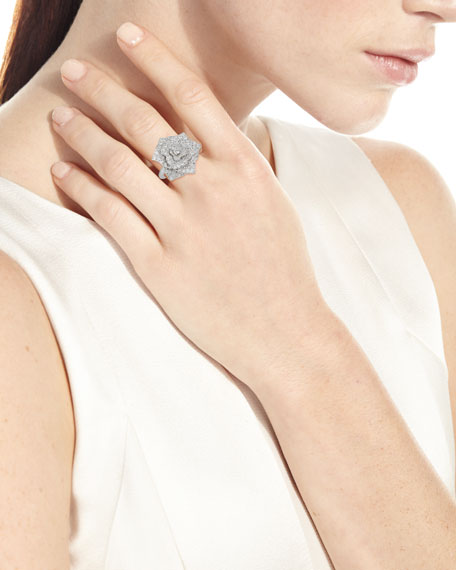 Pave Diamond Rose Ring in 18K White Gold, Size 52