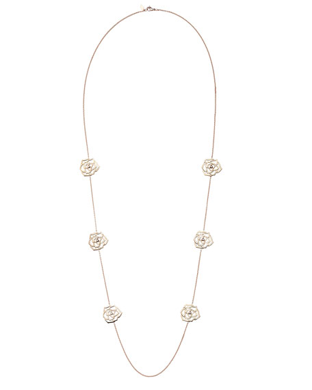 18K Red Gold Rose Sautoir Necklace with Diamonds