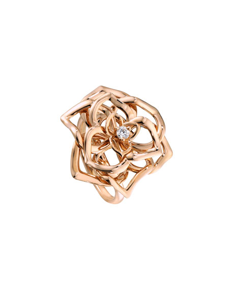 Rose Ring with Diamond in 18K Red Gold, Size 6