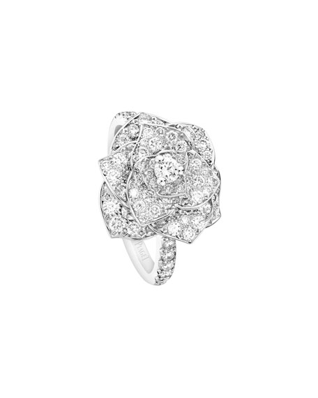Pavé Diamond Rose Ring in 18K White Gold, Size 6