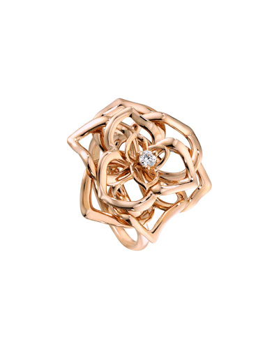 Rose Ring with Diamond in 18K Red Gold, Size 7