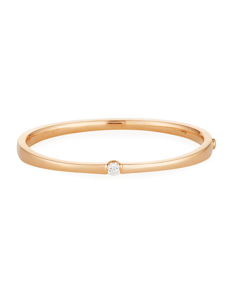 One-Diamond Bangle Bracelet in 18K Rose Gold