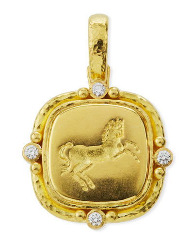 19k Rearing Horse Diamond Pendant