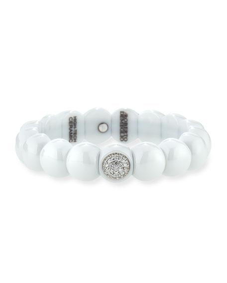 Roberto Demeglio Dama White Ceramic Bracelet with White Diamonds