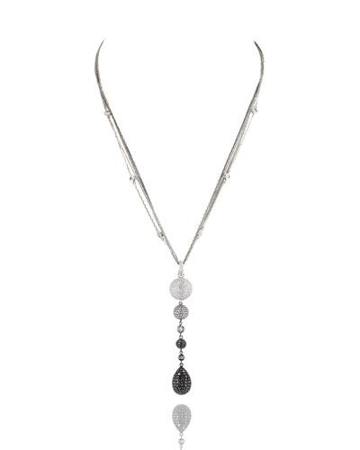 Black & White Diamond Teardrop Pendant Necklace