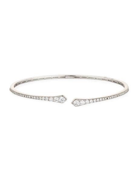 Brushed 18K White Gold Arrowhead Cuff Bracelet with Diamonds