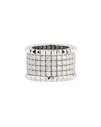Rock & Diamond 18K White Gold Ring with Diamonds, Size 6.5