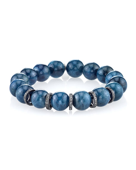 12mm Blue Apatite Beaded Bracelet with Diamond Rondelles