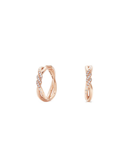 David Yurman 21mm Continuance 18K Rose Gold Hoop Earrings with Diamonds