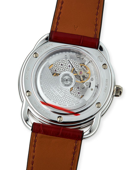 41mm Arceau Alligator Strap Watch with Diamonds