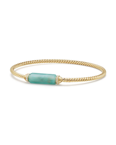 David Yurman Amazonite Barrel & Diamond Bracelet, Size M