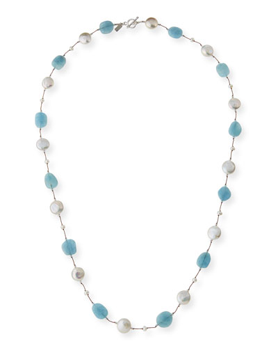 Long Aquamarine  Pearl & Crystal Station Necklace