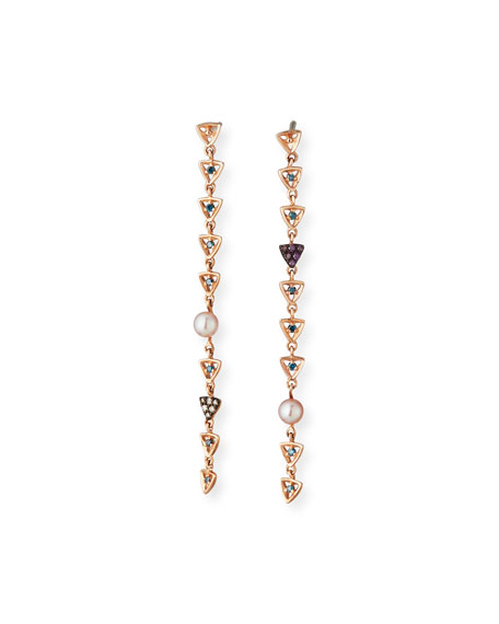 Stevie Wren Misfit Rose Gold Pearl & Diamond Triangle Dangle Earrings