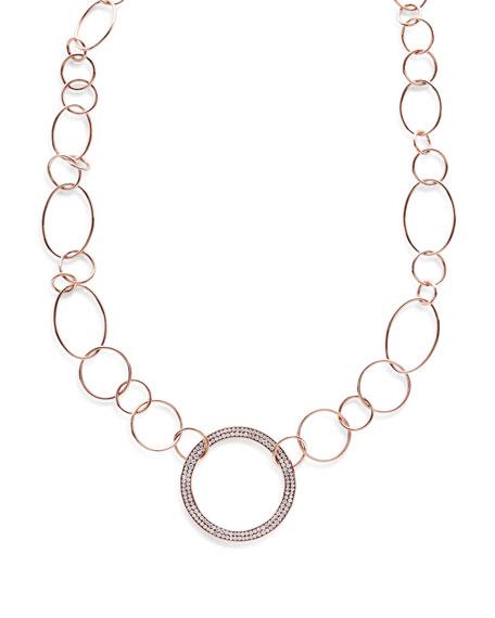 Ippolita Stardust 18k Rose Gold Pave Diamond Hollow-Pendant Wavy Chain Necklace
