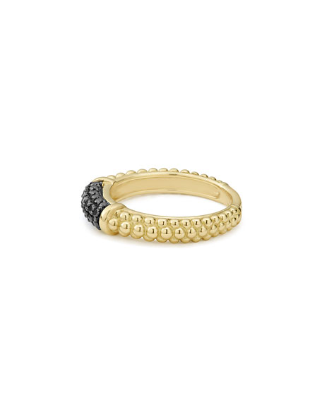 LAGOS 3mm 18k Gold Caviar Stack Ring with Black Diamonds, Size 7