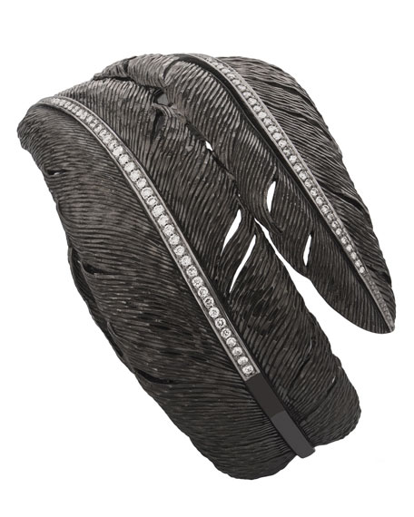 Image 2 of 2: Michael Aram Feather Bypass Bangle with Diamonds in Black Rhodium Plate