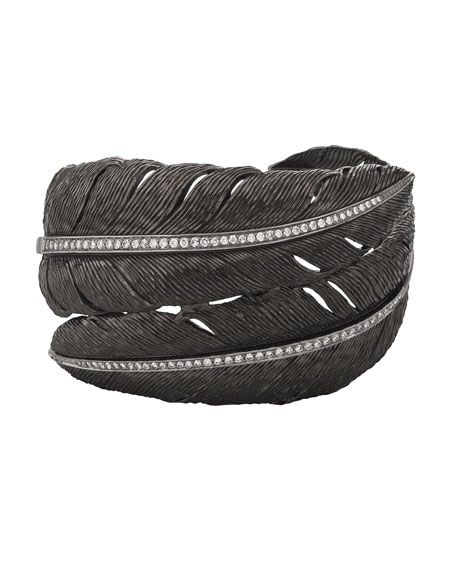 Image 1 of 2: Michael Aram Feather Bypass Bangle with Diamonds in Black Rhodium Plate