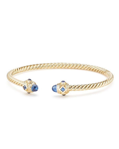 David Yurman 18K GOLD RENAISSANCE CABLESPIRA BANGLE BRACELET W/ SAPPHIRES