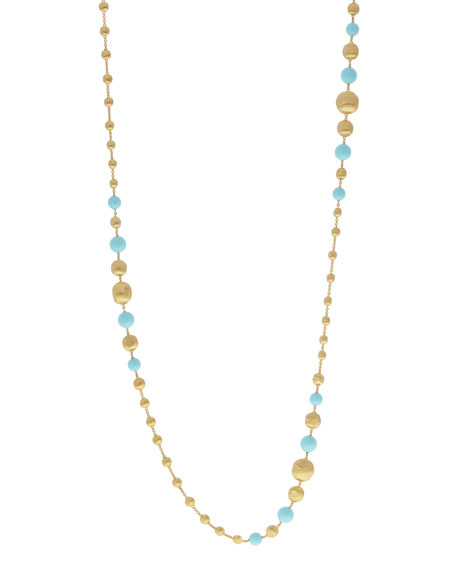 Marco Bicego 18k Africa Short Turquoise Beaded Necklace yov7tBHcT1