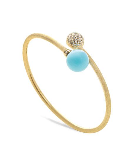 18k Gold Africa Diamond & Turquoise Bangle Bracelet