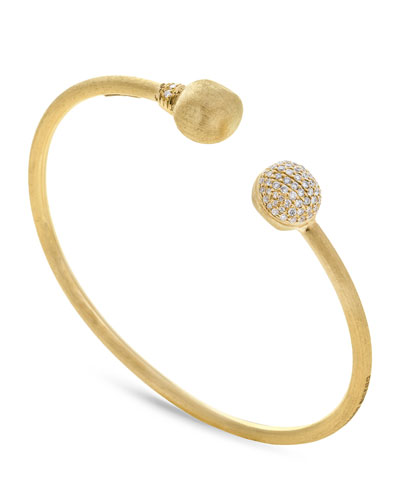 18k Gold Africa Diamond Bangle Bracelet