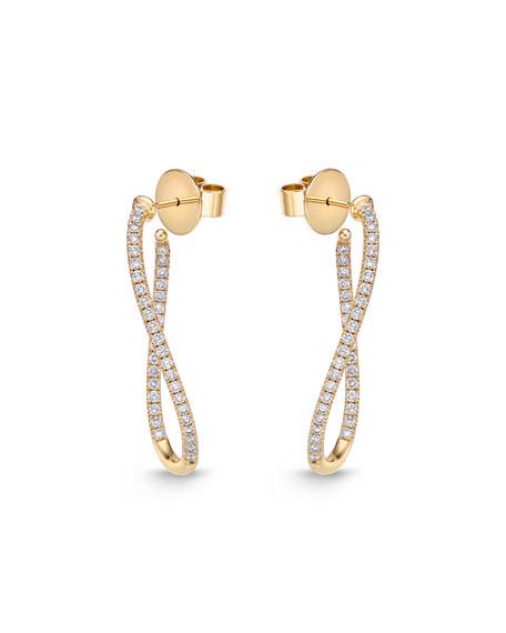 18KYG Small Diamond Pave Twist Hoop Earrings