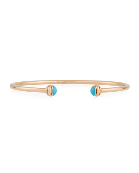 PIAGET 18k Rose Gold Possession Open Bangle with Turquoise