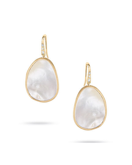Marco Bicego Lunaria 18k Mother-of-Pearl Drop Earrings