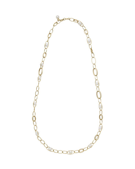 Ippolita 18k Gold Nova Link Necklace w/ Pearls, 36""