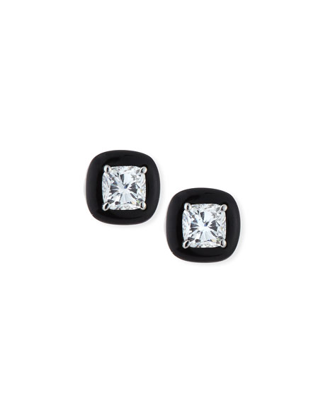 Nikos Koulis 18k Oui Diamond & Black Enamel Stud Earrings