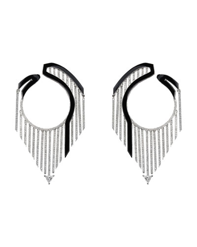 Oui 18k White Gold Drop Earrings w/ Diamonds & Black Enamel