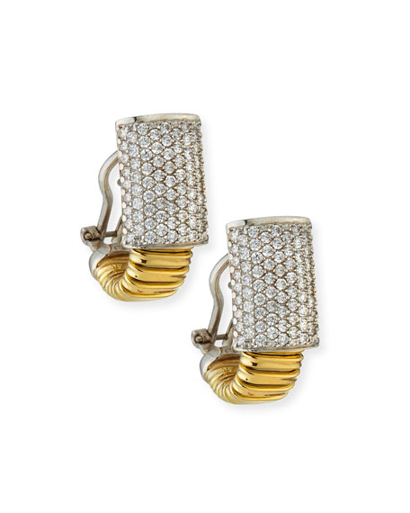 Alberto Milani 18k Tubogas Small Diamond Huggie Hoop Earrings