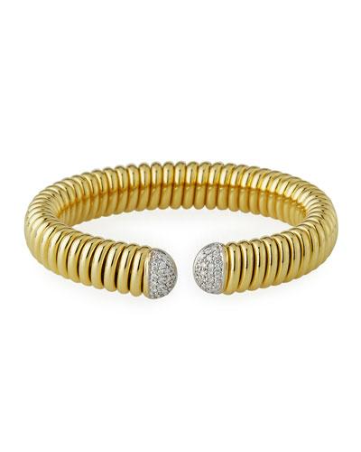 18k Gold Tubogas Wide Cuff Bracelet w/ Diamonds, 0.69tcw