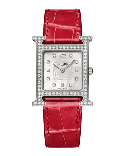 Heure H Diamond, Stainless Steel & Alligator Strap
