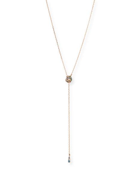 Stevie Wren 14k Rose Gold Rainbow Diamond Lariat Necklace