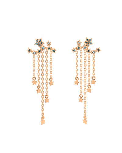 14k Rose Gold Star Ear Climber Earrings