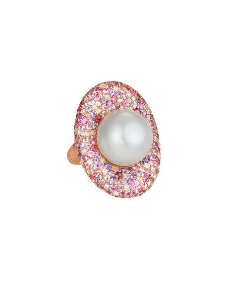 Margot McKinney Jewelry 18k Rose Gold & South Sea Pearl Cocktail Ring, 17.4mm, Size 6.5
