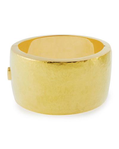 18k Gold Wide Hammered Design Bracelet