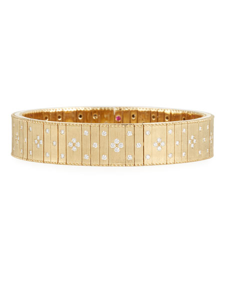 Roberto Coin 18k Gold Wide Flexible Diamond Bracelet