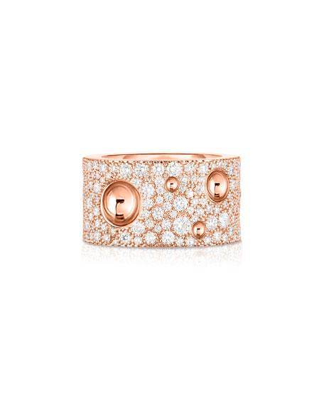 Roberto Coin Pois Moi Luna 18k Rose Gold Diamond Ring, Size 6.5