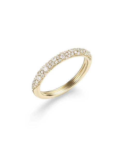 LANA 14k Gold Flawless Thin Diamond Curve Ring, Size 7