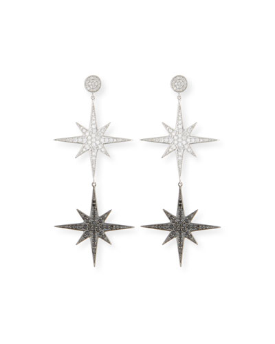 14k Two-Tone Diamond Starburst Drop Earrings