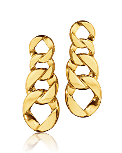 18k Gold Curb-Link Clip-On Earrings