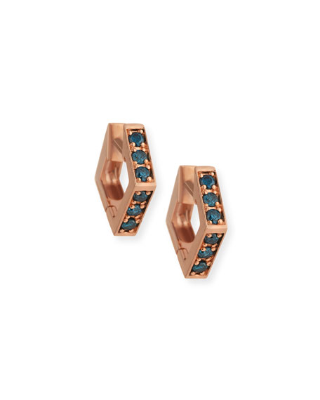 Stevie Wren 14k Rose Gold Blue Diamond Mini Octagon Hoop Earrings