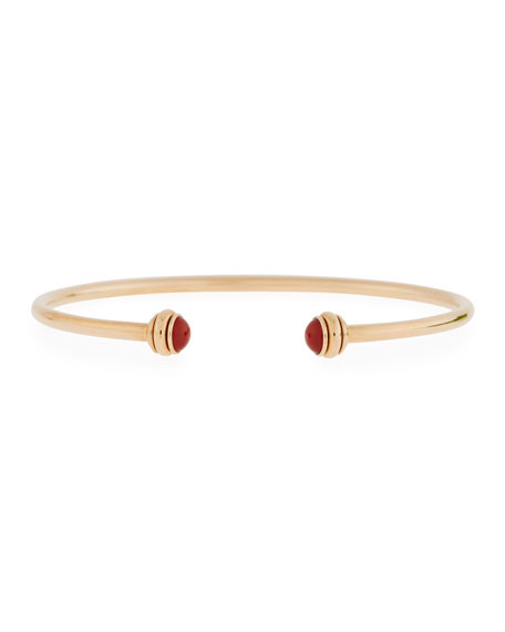 PIAGET 18k Rose Gold Possession Open Bangle with Carnelian