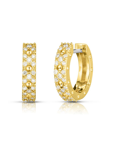 Roberto Coin Pois Moi Luna 18k Gold Diamond Hoop Earrings