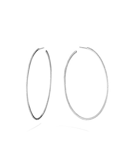 Lana SKINNY 14K WHITE GOLD DIAMOND HOOP EARRINGS