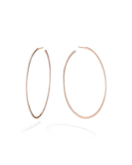 LANA Skinny 14k Rose Gold Diamond Hoop Earrings