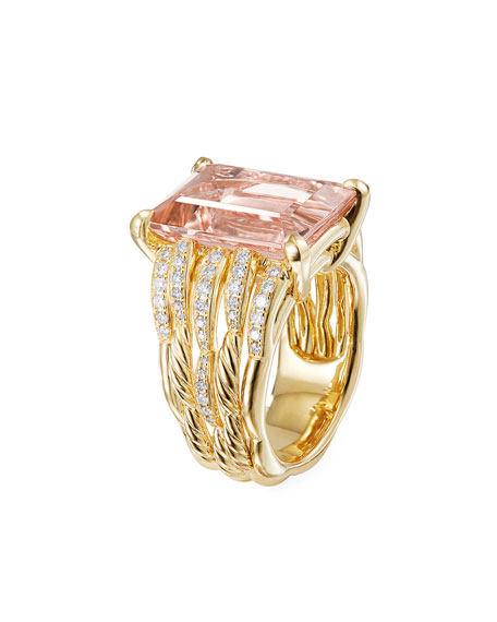 Image 3 of 4: David Yurman Tides 18k Gold Diamond & Morganite Wide Ring, Size 8